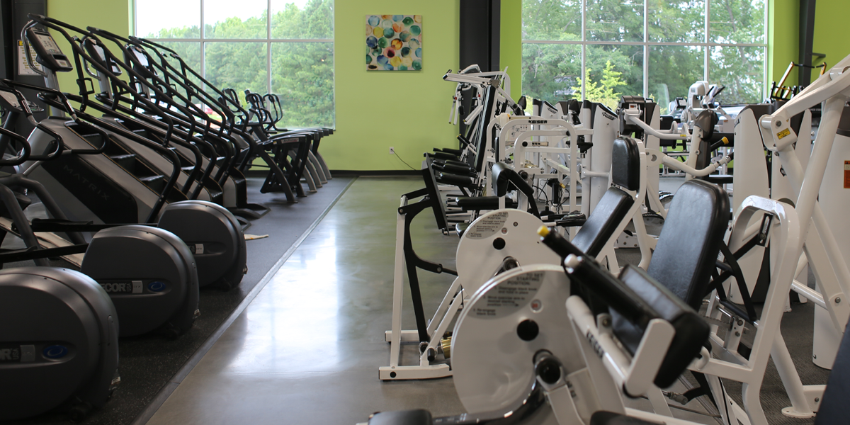 Workout machines in the Champions facility